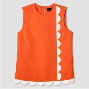 Orange Twill Tank Top with Asymmetric Scallop Trim